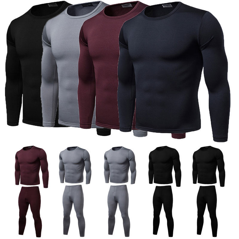 New Men's Tactical Thermal Outdoor Sports Elastic Underwear Bicycle Winter Warm Base Layers Tight Long Johns Top & Pants Set