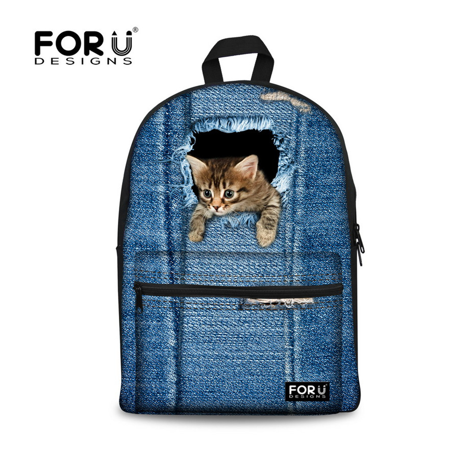 FORUDESIGNS 2017 Fashion Women Canvas Backpacks Vintage Denim Cute Cat Printing Backpack Kid Jeans School Bags