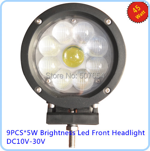 ФОТО High quality DC12-30V,9pcs*5W,6000K high power brightness led auto front headlight, led work light, waterproot IP 67