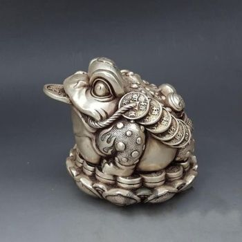 christmas China Silver Feng Shui Wealth Money Golden Toad Bufonid A Lotus Blossom Statue halloween