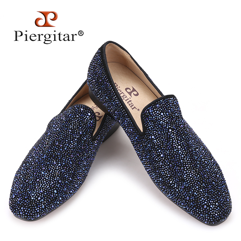 Piergitar 2017 men leather shoes with mixed colors rhinestones Prom and Banquet men casual loafers luxurious