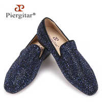 Piergitar 2019 men leather shoes with mixed colors rhinestones Prom and Banquet men casual loafers luxurious smoking slippers