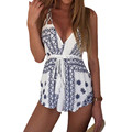 Boho Rompers Womens Jumpsuit 2017 Summer Sexy Deep V Neck Backless Print Playsuit Sleeveless Blackless Casual Bodysuit Overalls