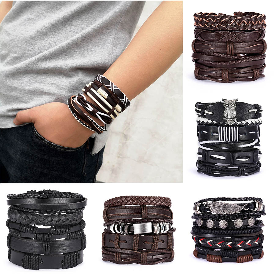 Men Bracelets Vintage Multilayer Leather Braid Bracelets Bangles Star Leaf Owl Handmade Rope Wrap Bracelets Male Gift Jewlery