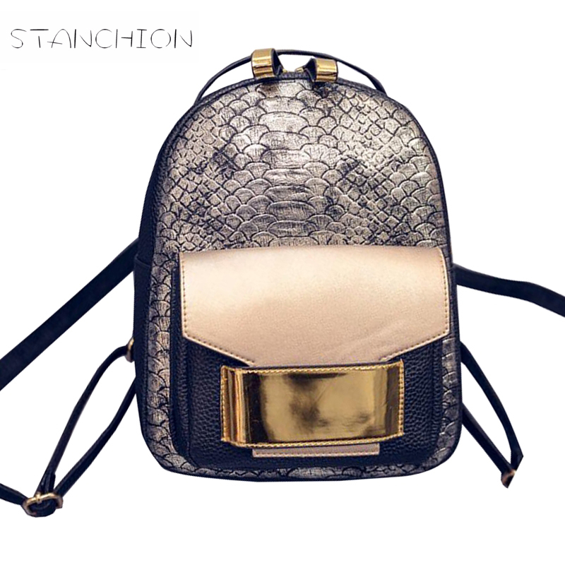 Backpack Faux Leather Women Daily Portable Rucksack Serpentine Lady Vintage Shoulder Bag School Mochila Feminina women backpack fashion pvc faux leather turtle backpack leather bag women traveling antitheft backpack black white free shipping