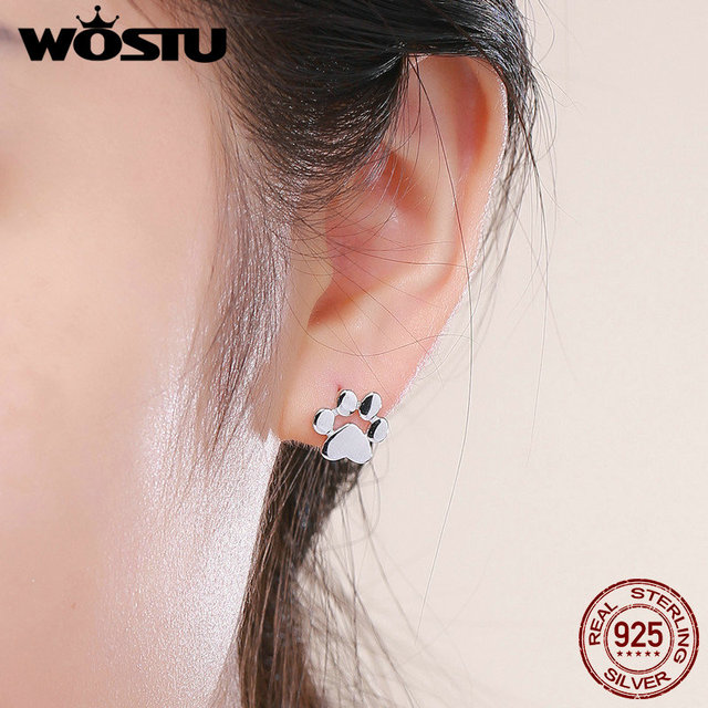 WOSTU Real 925 Sterling Silver Cute Dog Footprints Tiny Stud Earrings for Women Party S925 Silver Jewelry Gift CQE407