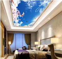3d Room Wallpaper Landscape Peach Butterfly Sky Ceiling Wallpaper 3d Mural Wall Decoration Non Woven Wallpaper