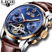 Relogio Masculino Mens Watches Top Brand Luxruy LIGE Automatic Watch Men Waterproof Sport Clock Man Leather