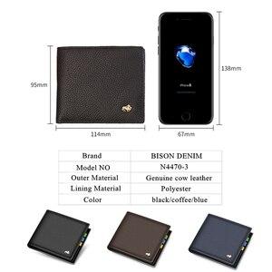 Image 3 - BISON DENIM Genuine Leather Men Wallets Brand Luxury RFID Bifold Wallet Zipper Coin Purse Business Card Holder Wallet N4470