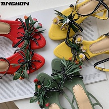 TINGHON Luxury Flower Kitten Heel Women Sandals French Style Elegant Summer Mixed Colors Shoes