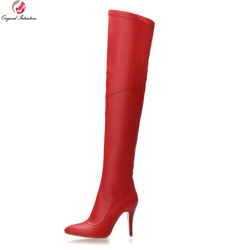 Original Intention New Popular Women Over the Knee Boots Pointed Toe Thin Heels Stylish Black Red Shoes Woman US Size 4-13 original intention high quality women knee high boots nice pointed toe thin heels boots popular black shoes woman us size 4 10 5