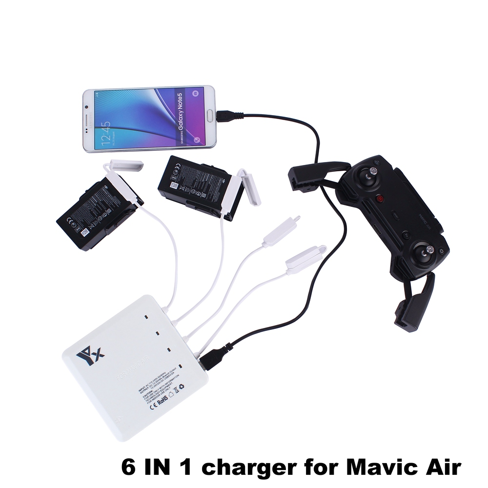 цена на 6 in 1 DJI MAVIC AIR Charger Battery and Controller Parallel Multi Batteries Charging Hub for DJI Mavic Air Drone with USB Port