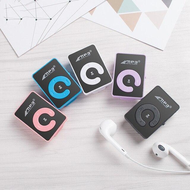 Gương C chìa khóa không màn hình mini di động MP3 Người Chơi Mini MP3 Người Chơi Hỗ Trợ Thẻ TF Với Cáp USB Và tai nghe chụp tai bluetooth