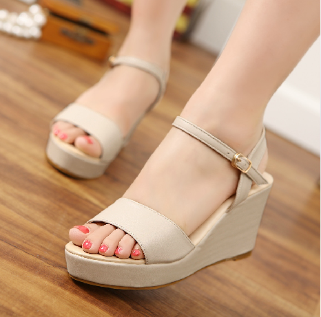 Сплошной цвет женские туфли на платформе с открытым носком женские сандалии клинья сандалии