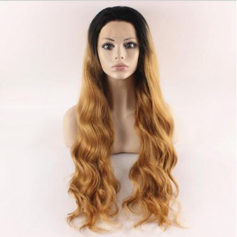 Black Blonde Ombre Synthetic Lace Front Wig For Black