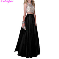 2019 Women's Vestido De Festa Crystal Beaded Bodice Ball Gown Evening Formal Gown 2 Pieces Black Prom Dresses Long Prom Dress