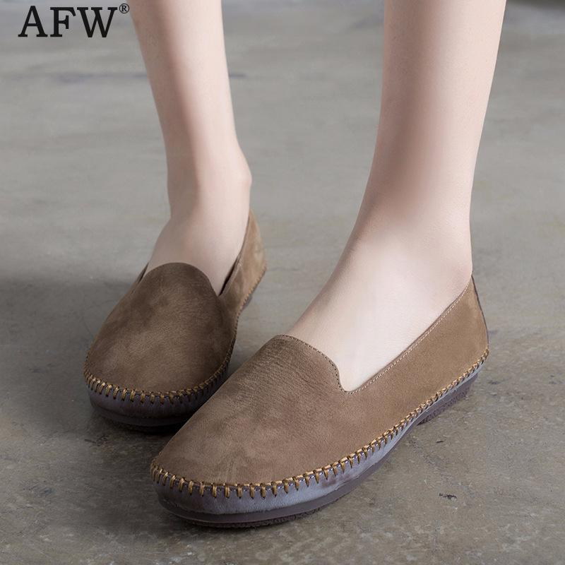 AFW Genuine Leather Women Flats Khaki Spring Shoes Casual Women Soft Leather Loafers 2018 Low Heel Women Shoes Slip On Handmade tyawkiho genuine leather women sandals low heel white casual leather summer shoes 2018 handmade women leather sandal soft bottom