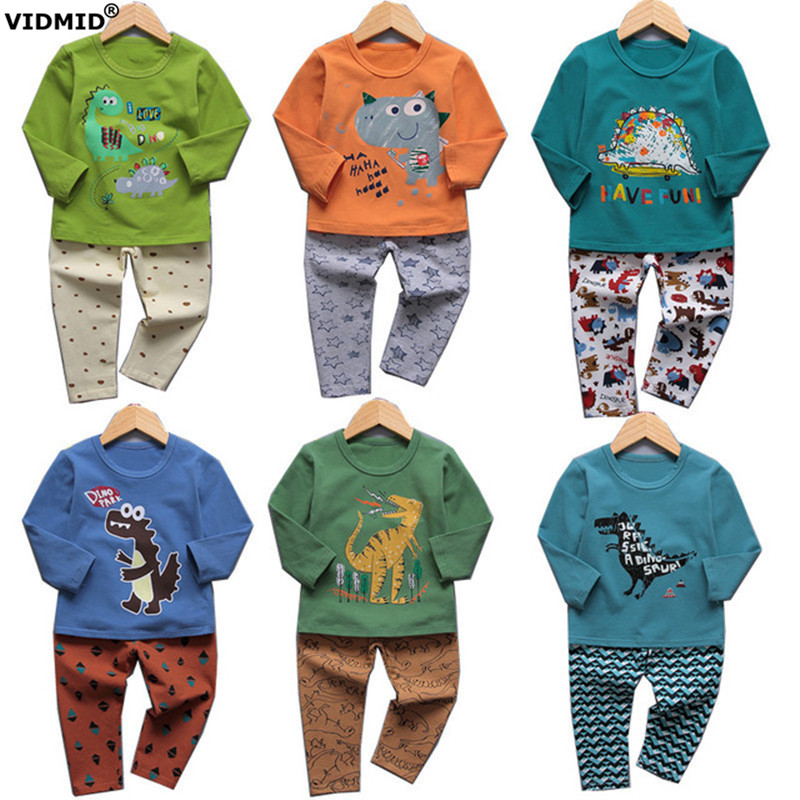VIDMID boys pajamas clothing sets for boy long sleeve t-shirts pants kids cotton childrens pjs Dinosaur underwear set 4049 01
