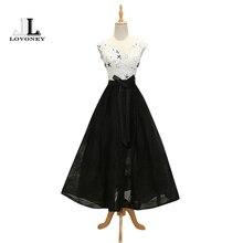 LOVONEY Abendkleider A-Line V-Neck Short Evening Dress 2017 Lace Up Formal Dress Women Evening Gowns Prom Party Dresses M225