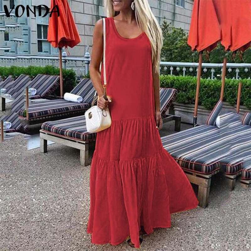 Solid Party Dress Summer Maxi Long Dress 2021 VONDA Women Sexy Sleeveless Party Maxi Long Dress Big Swing Plus Size Vestidos