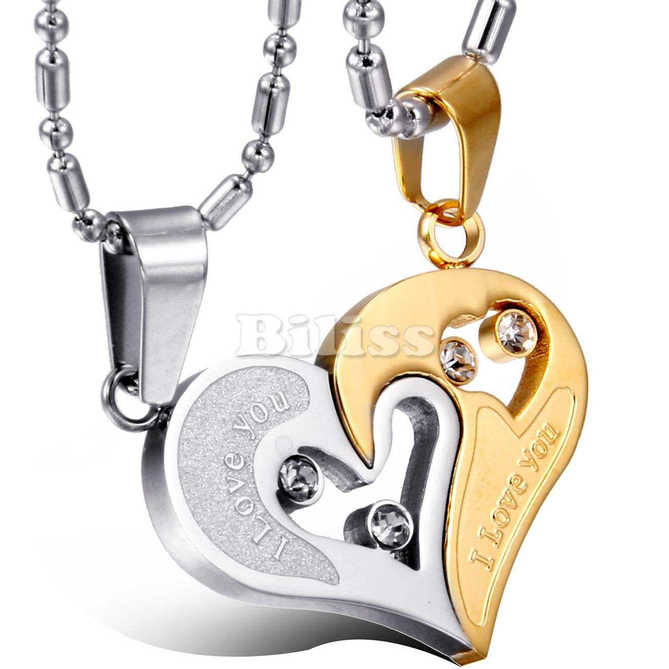 c32564b8c1 2 pcs/pair His and Hers Matching Heart Stainless Steel Pendant I ...