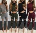 2017 novo 2 peça set mulheres bodysuit manga longa conjuntos senhoras sexy top colheita das mulheres buraco buraco calças ternos