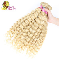 Facebeauty Bleached 613 Blonde Human Hair Bundles Peruvian Curly Hair Bundles Weft 1/3/4 Pcs/Lot 12 24 Inch Can Buy More Piece