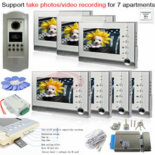 7pcs Photo Memory Indoor Units+ RFID 700lines CCD Outdoor Camera Video Door Bell Intercom System For 7 Apartments+E-Lock