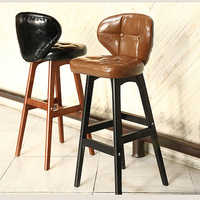New Luxurious 100 % High quality Oak Leather Bar Chair Europe Bar Furniture Leather living room furniture High foot chair