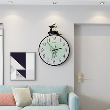 MEISD Original Design Animal Deer Modern Embossing Wall Clock Creative Decoration Quartz Living Room Hanging Round Clocks