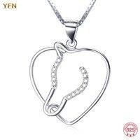 YFN Genuine Silver 925 Jewelry HorseHead Love Heart Pendant Necklace Women Brincos Pulseira Masculina Online Shopping