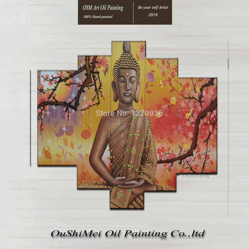 Заводская цена 5 шт. ручной работы высокое качество будда картина маслом на холсте хороший Гостиная украшения