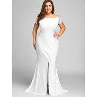 LANGSTAR 2017 White Plus Size Dress Off The Shoulder Lace Slit Women Dress Fashion Sheath Party