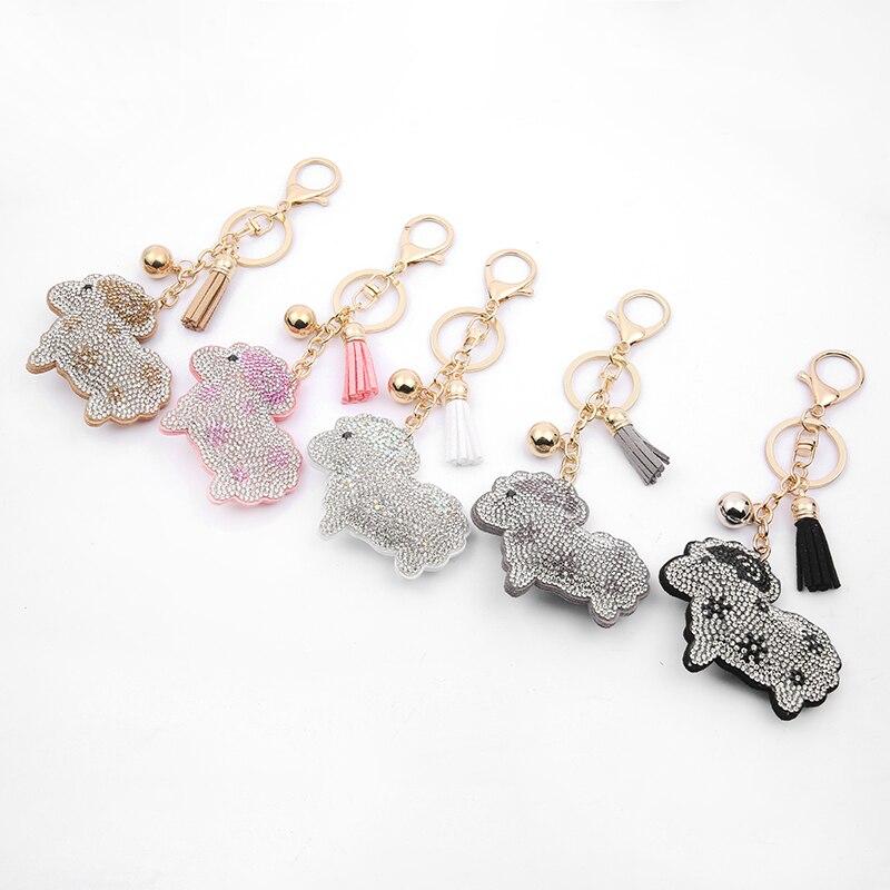 The Latest Rhinestone Crystal Leather Keychain Leather Tassel Cute Sheep Pendant  Couple Key Ring Hang Bag Pendant Gift K1012