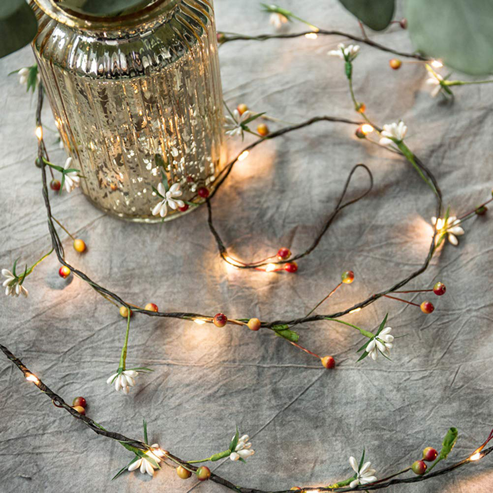 2M 20leds AA Battery String Lights Fruit Copper Wire LED Lights Christmas Decoration Lights For Birthday Party Garland Wedding