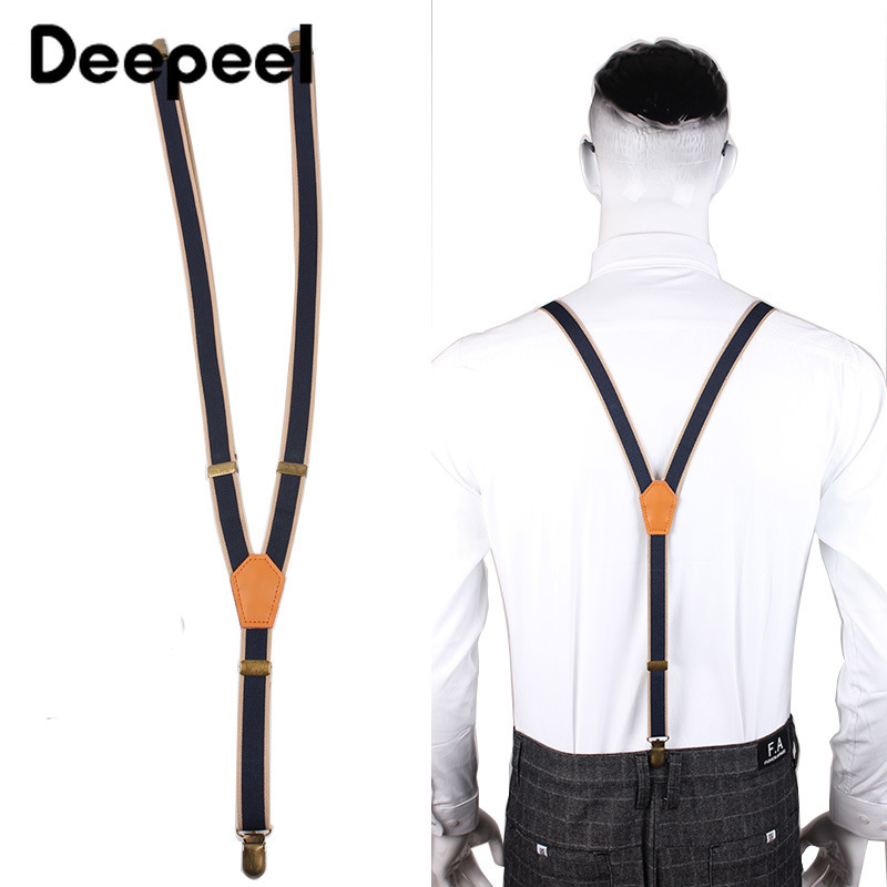 Deepeel 1pc 2X110cm  Vintage Elastic Strap Unisex Fashion Narrow Suspenders 3 Clip Elastic Band Adjustable Jeans Suit Suspenders