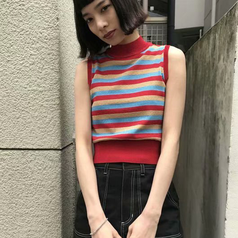 Tank-Top Turtleneck Short-Length Crop Skinny Sexy Women Sleeveless Slim Striped French-Style