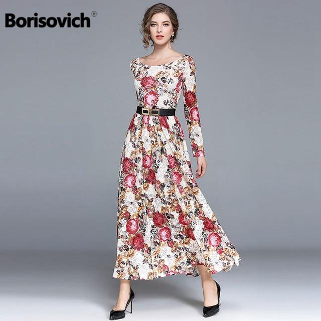e80680d5130 Borisovich Women Casual Long Dress New 2018 Spring Vintage Floral Print Luxury  Lace Ladies Elegant Evening Party Dresses M151