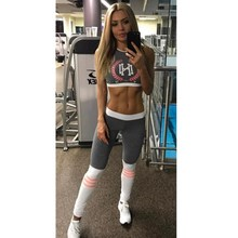 New fashion women casual fitness suits gray letter print cropped tops tanks and movement leggings pants two pieces sets suits