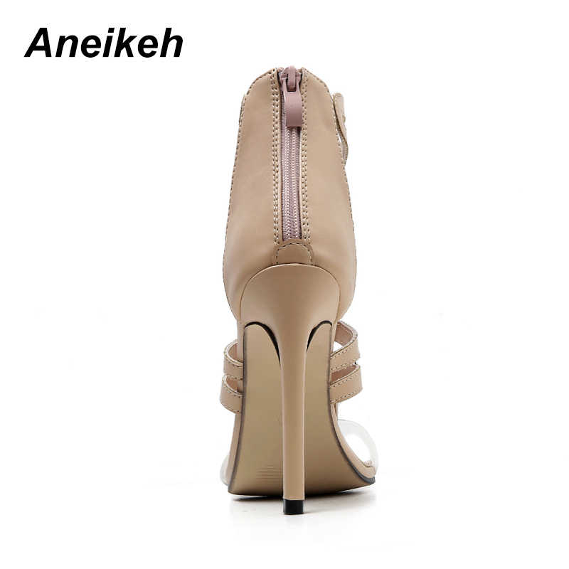 1b0193799 ... Aneikeh Clear Straps Patchwork Women Black Nude Patent Leather Sandals  Sexy Open Toe Ladies Cut ...