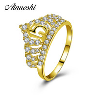 AINUOSHI 14K 15th Wedding Anniversary Queen Crown Ring 14K Solid Yellow Gold SONA Diamond Crystal Wedding Ring Jewelry for Women