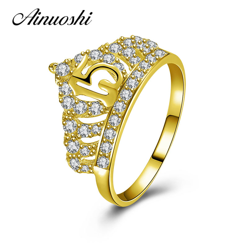 AINUOSHI Elegant Queen Crown Ring 10K Solid Yellow Gold Female Ring Bridal Ring 15th Anniversary Fine Jewelry Women Wedding Ring ainuoshi exquisite queen crown ring 10k solid yellow gold flower ring women jewelry engagement wedding birthday party heart ring