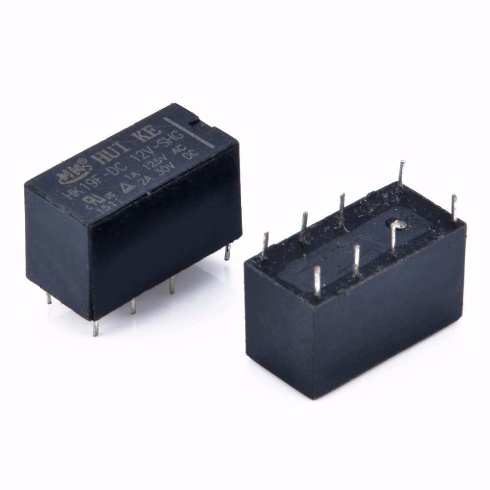 цена на 10pcs/lot 8 Pin Power Relays HK19F DC 12V SHG Coil DPDT Mini Power Relays Set PCB Type