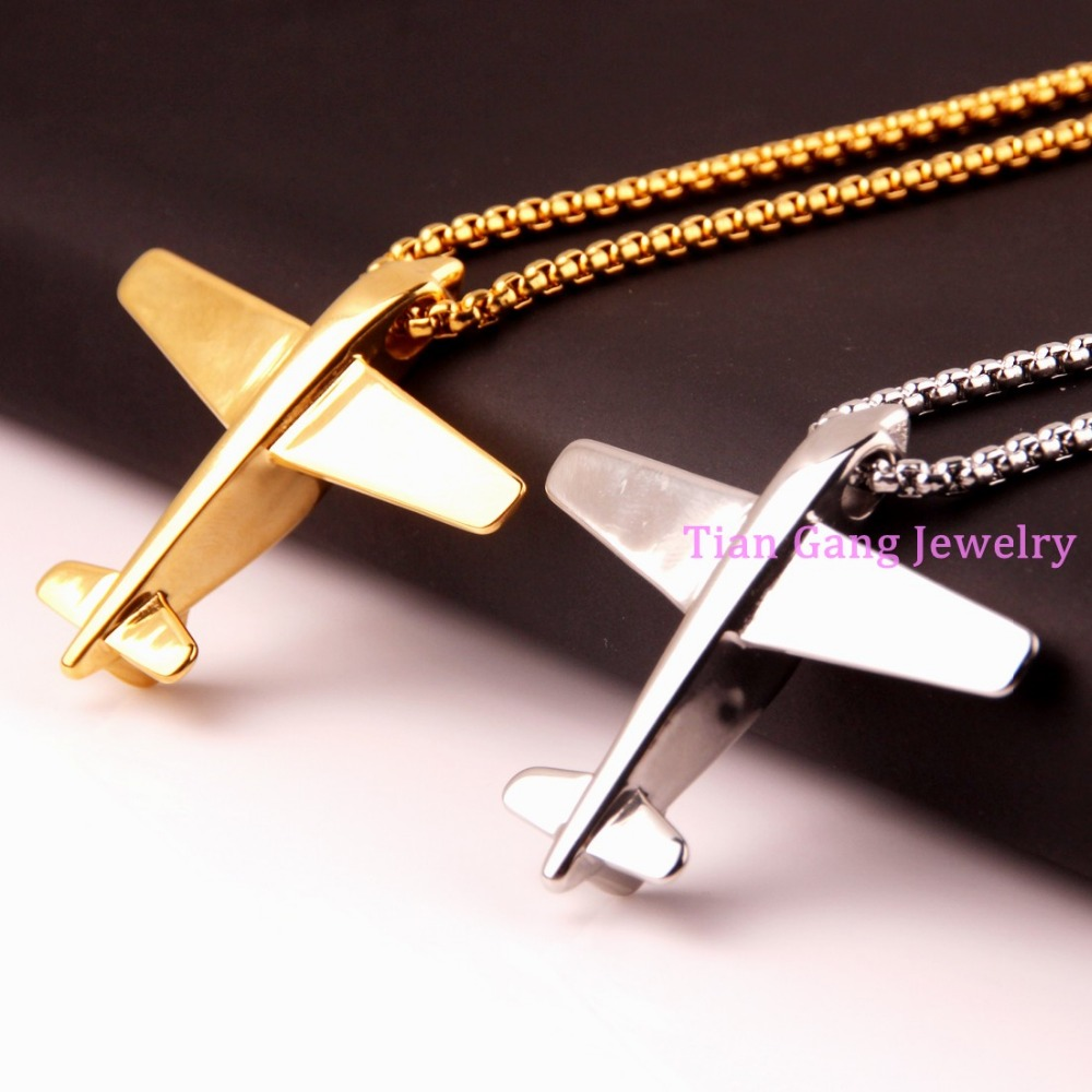 Rock Silver/Gold/Black Color 316L Stainless Steel Airpane Design Biker Pendant Necklace 24 Box Chain Men Boys Gift image