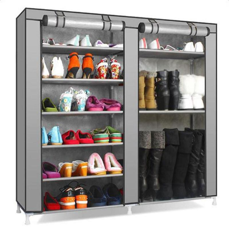 Double Row 9 Grid Combination Shoe Rack Stand Grey Home Storage Organizer E5M1