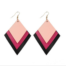 New Glitter Sequins Three Layers Leather Earrings For Women Bohemia Lightweight Fashion Jewelry Gifts Wholesale