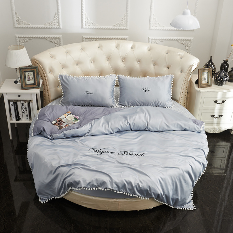 Single Piece Diameter 2.0m 2.2m Bed Fitted Bed Sheet Bed Skirt Pillowcase Round Bed Duvet Cover Embroidery Home Textile