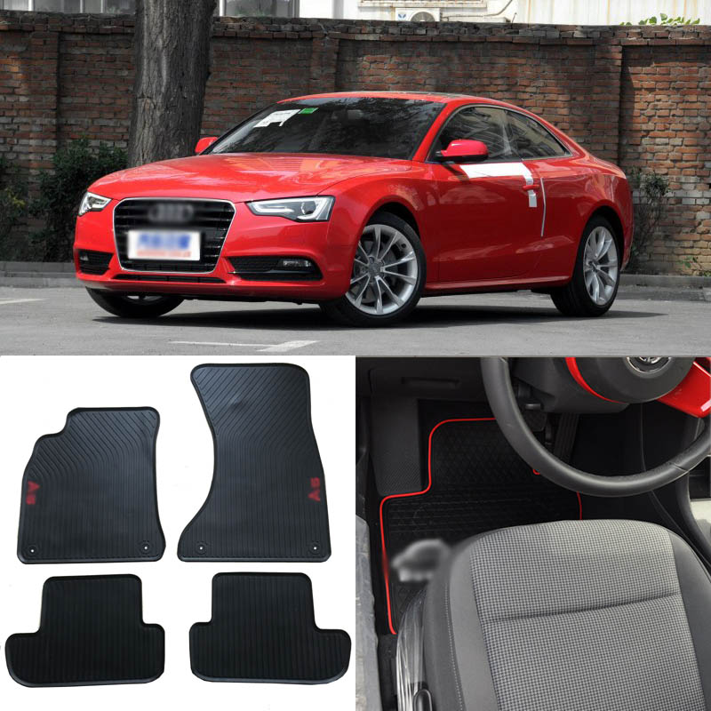 Ipoboo haute qualité ensemble complet tous temps lourds en caoutchouc noir tapis de sol pour Audi A5