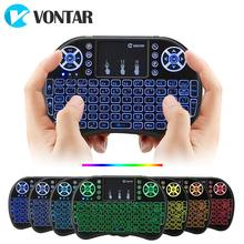 Vontar I8 7 Warna Backlit 2.4G Keyboard Nirkabel Udara Mouse Bahasa Rusia Touchpad Handheld untuk Android TV Box T9 h96 Max Plus(China)