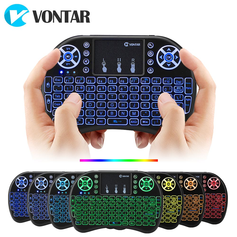 VONTAR i8 7 Colors Backlight 2.4G Keyboard Wireless Mouse Mouse English Russian Touchpad Handheld për Android TV BOX T9 H96 Max plus